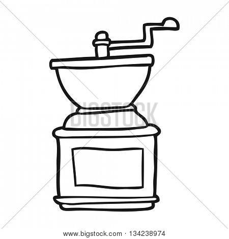 freehand drawn black and white cartoon coffee bean grinder