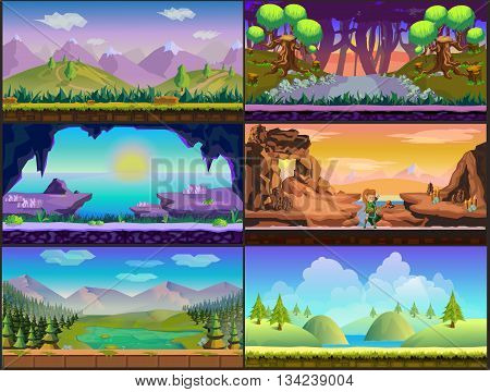 Cartoon game design - nature landscape, background stone, clouds and resources for game mobile
