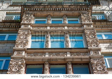 ancient architecture building with windows in classic style.