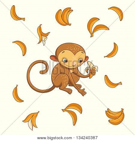 monkey with banana. vector illustration with cute character