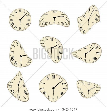 Classic Wall Clock distorted vector set design