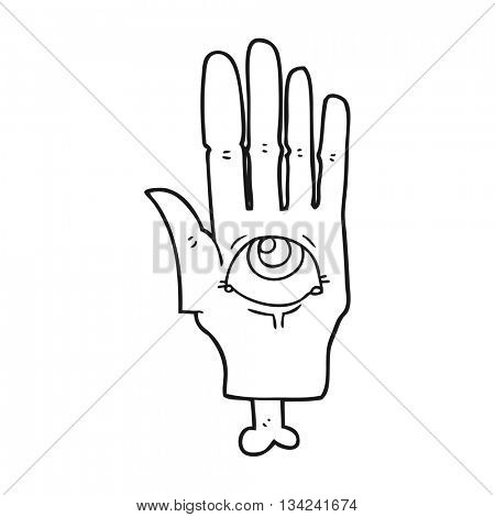 freehand drawn black and white cartoon spooky eye hand