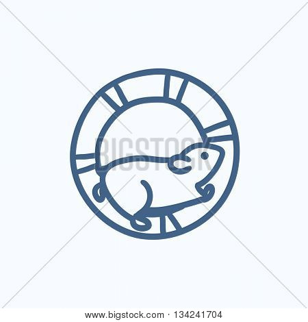 Hamster running in the wheel vector sketch icon isolated on background. Hand drawn Hamster running in the wheel icon. Hamster running in the wheel sketch icon for infographic, website or app.