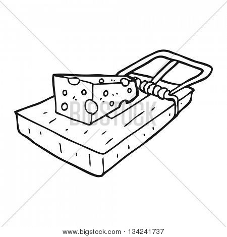 freehand drawn black and white cartoon mouse trap
