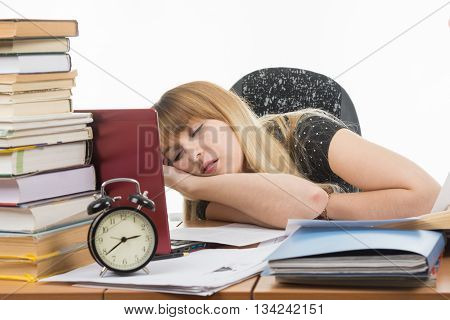 Student Fell Asleep At His Desk Preparing For An Exam