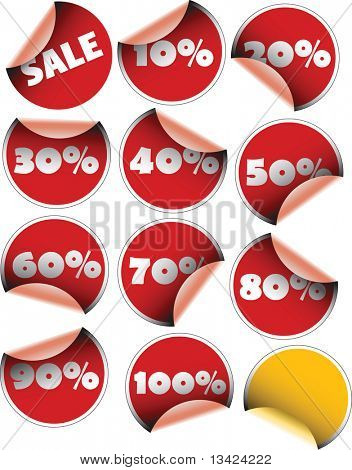 Labels badges and stickers for sales with percentages
