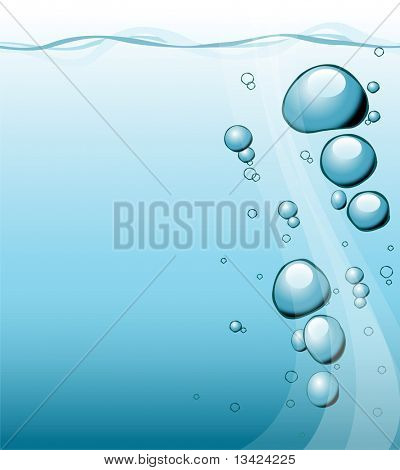 Bubbles under water - fresh blue background