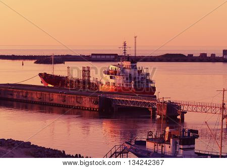 Ventspils, Latvia - May 8, 2016: Dry dock at Marina in Ventspils at sunset. Ventspils a city in the Courland region of Latvia. Latvia is one of the Baltic countries