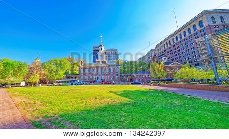 Philadelphia, USA - May 5, 2015: Independence Hall at Chestnut Street in Philadelphia Pennsylvania USA. It is the place where the US Constitution and the US Declaration of Independence were adopted.