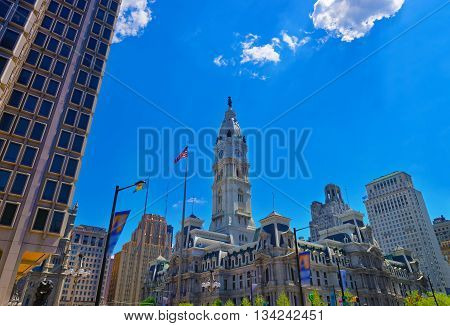Philadelphia City Hall with William Penn statue atop the Tower. View from the road. Pennsylvania USA.