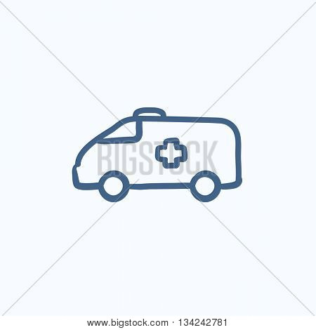 Ambulance car vector sketch icon isolated on background. Hand drawn Ambulance car icon. Ambulance car sketch icon for infographic, website or app.