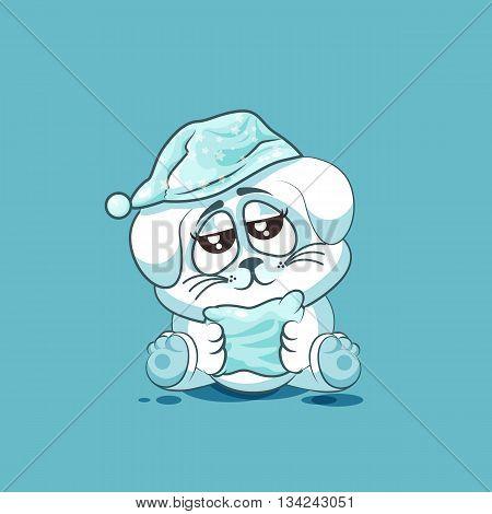 Vector Stock Illustration isolated Emoji character cartoon sleepy White leveret in nightcap with pillow sticker emoticon for site, info graphic, video, animation, websites, e-mails, newsletters, reports, comics