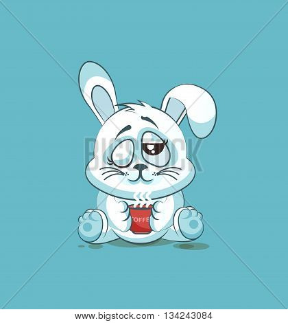 Vector Stock Illustration isolated Emoji character cartoon White leveret just woke up with cup of coffee sticker emoticon for site, infographic, video, animation, websites, e-mails, newsletters, reports, comics