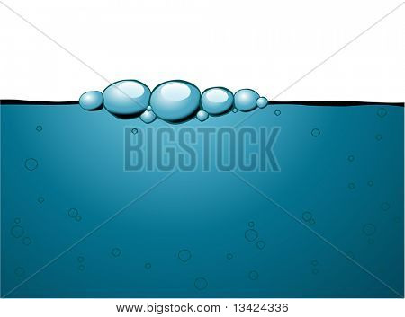 Blue bubbles on the top of the water