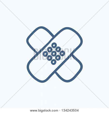 Adhesive bandages vector sketch icon isolated on background. Hand drawn Adhesive bandages icon. Adhesive bandages sketch icon for infographic, website or app.
