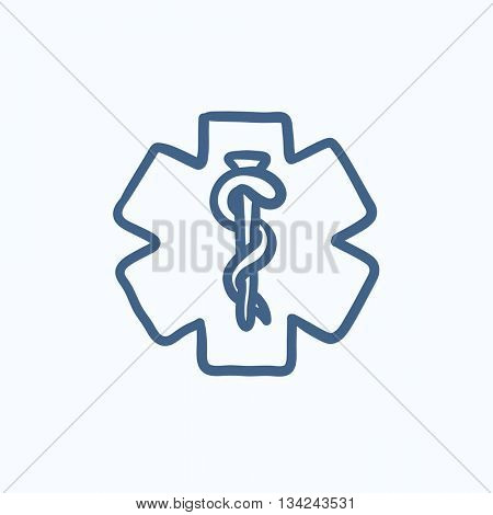 Medical symbol vector sketch icon isolated on background. Hand drawn Medical symbol icon. Medical symbol sketch icon for infographic, website or app.