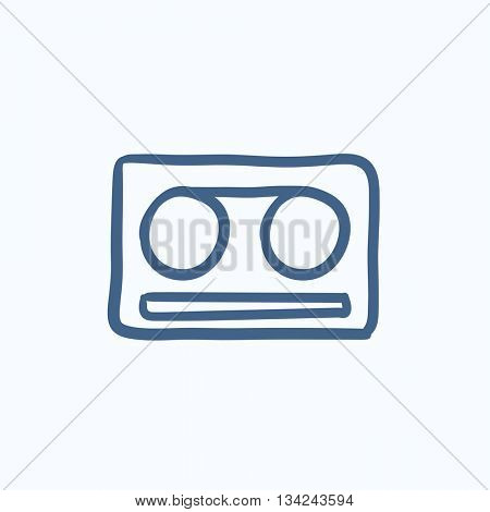 Cassette tape vector sketch icon isolated on background. Hand drawn Cassette tape icon. Cassette tape sketch icon for infographic, website or app.