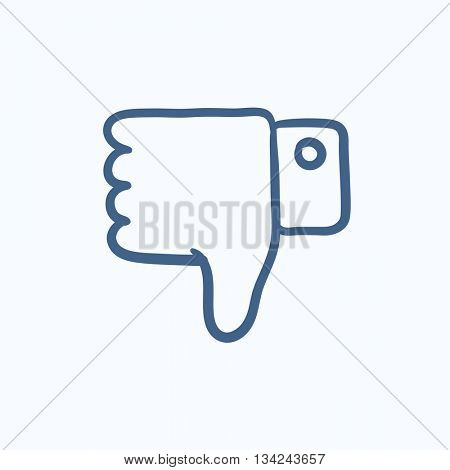 Thumb down hand sign vector sketch icon isolated on background. Hand drawn Thumb down hand sign icon. Thumb down hand sign sketch icon for infographic, website or app.