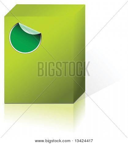 Green box containing some product with a label
