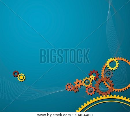 background made from various colorful cogwheels