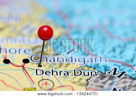 Dehra Dun pinned on a map of India