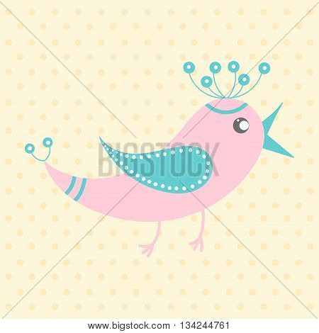 Cute pink bird in cartoon style on a dotted background. Funny little bird. Fauna symbol. Perfect for greeting cards design children's clothing.