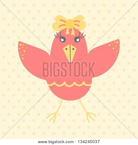 Cute red bird in cartoon style on a dotted background. Funny little bird. Fauna symbol. Perfect for greeting cards design children's clothing.