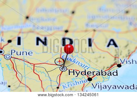 Hyderabad pinned on a map of India