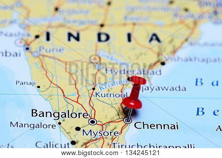 Chennai pinned on a map of India