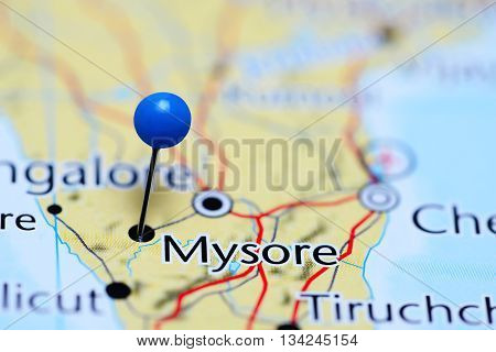 Mysore pinned on a map of India