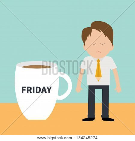 Sleepy businessman manager Friday coffee cup mug Blue background Flat modern simply design Vector illustration