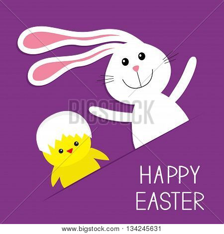 Happy Easter. Bunny rabbit hare and chicken in the paper pocket. Baby greeting card. Violet background. Flat design. Vector illustration