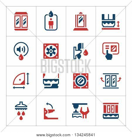 Set color icons of shower cabin isolated on white. Vector illustration