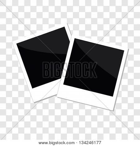 Instant photo set in flat design style Template Transparent background isolated Vector illustration
