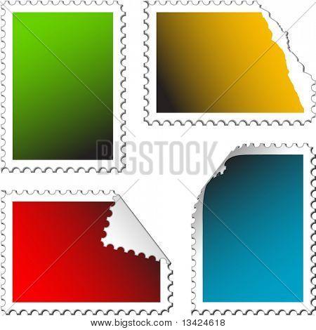 conjunto de sellos de correos vacíos sobre un fondo blanco