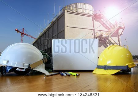 work outdoor wear safety equipment  at utility construction site .