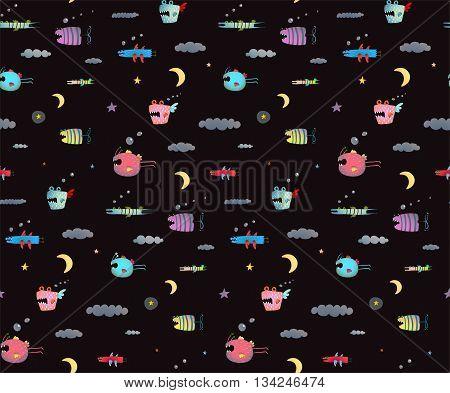 Seamless pattern Fun Cute Cartoon Monsters for Kids Design background. Underwater creatures seamless pattern on black. Tileable background vector.