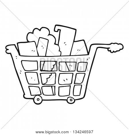 freehand drawn black and white cartoon shopping trolley