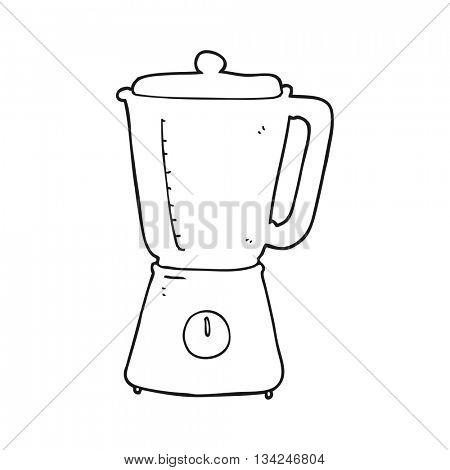 freehand drawn black and white cartoon blender
