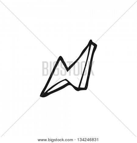 freehand drawn black and white cartoon lightning bolt doodle