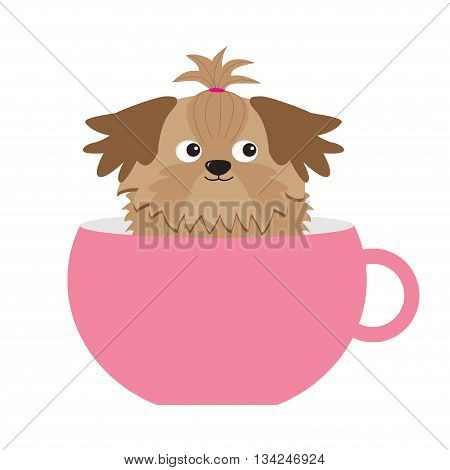 Shih Tzu dog sitting in pink cup. Cute cartoon character. Flat design. White background. Vector illustration