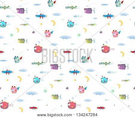 Seamless pattern Fun Cute Cartoon Monsters flying in sky for Kids Design background. Undewater creatures seamless pattern on white. Transparent background vector.
