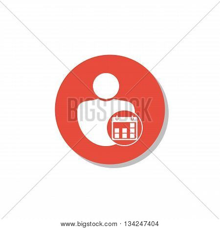 User Date Icon In Vector Format. Premium Quality User Date Symbol. Web Graphic User Date Sign On Red