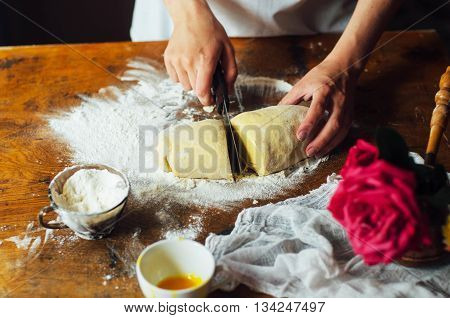 Ingredients For Baking Cake Stuffed With Fresh Cherry Pie. Female Preparing Cherry Pie. Rustic Dark