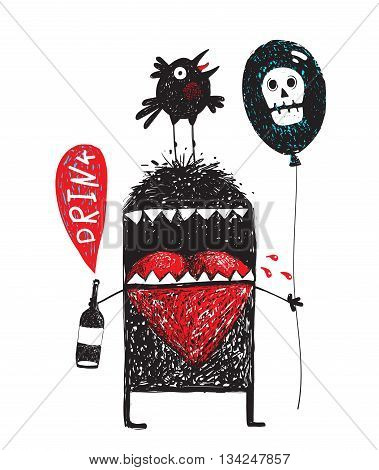 Doodle cartoon alcoholic monster holding bottle with bubble drink, black air balloon with white skull , and crow bird sitting on his head, vector drawing illustration.