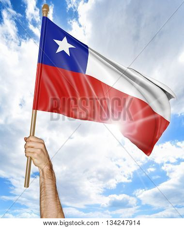 Person's hand holding the Chilean national flag and waving it in the sky, part 3D rendering