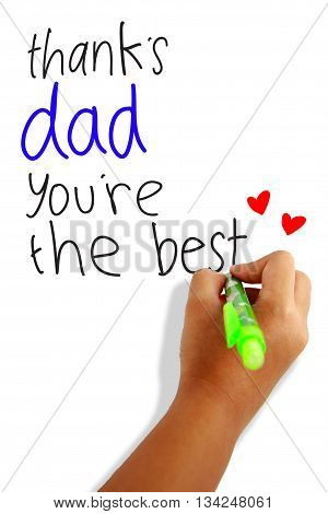 father's day note of a child thanking dad