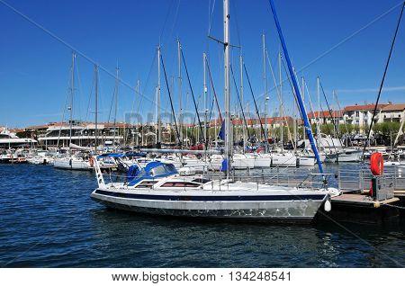 Saint Raphael; France - april 14 2016 : boats in the marina