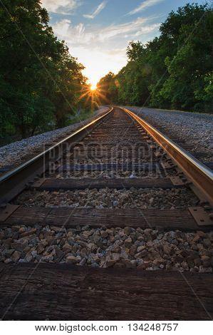 Railroad tracks at sunset. Taken in Kentucky.