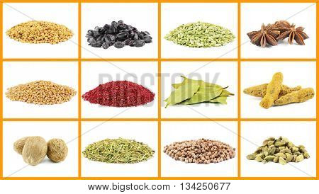 Set of different spices, isolated on white